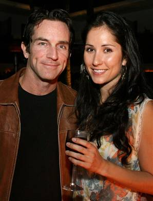 Survivor Host Jeff Probst and Julie Berry, a former contestant